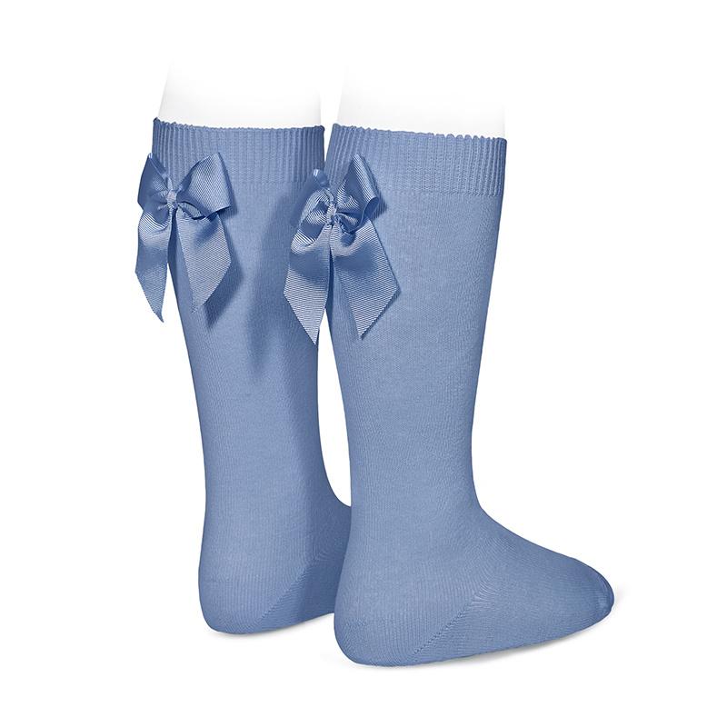 Chaussettes hautes à noeuds coloris French Blue