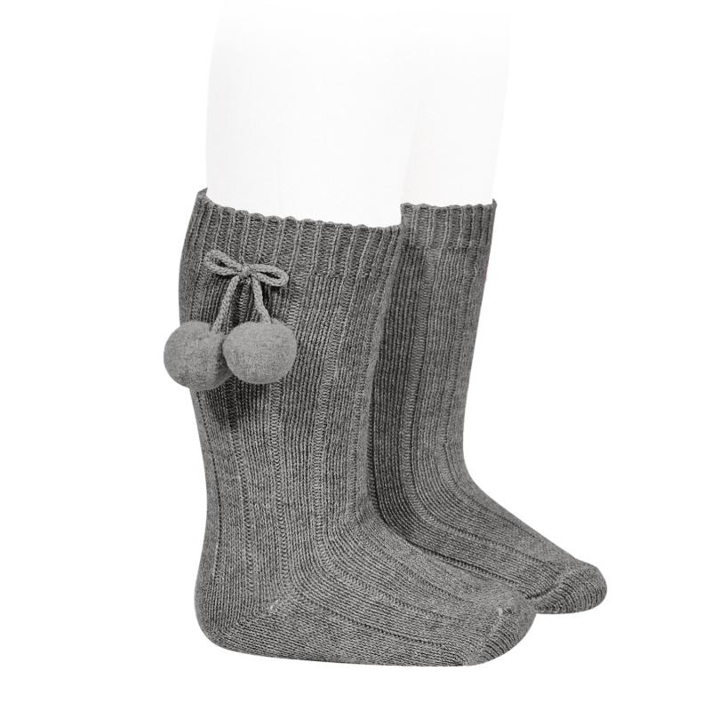 Chaussettes hautes maille côtelée à pompons coloris Light Grey