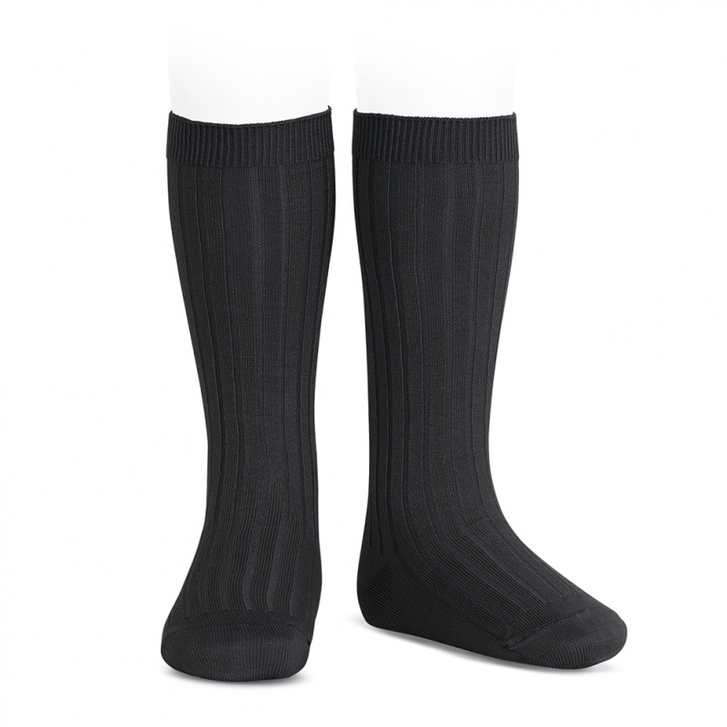 Chaussettes hautes maille côtelée coloris Noir