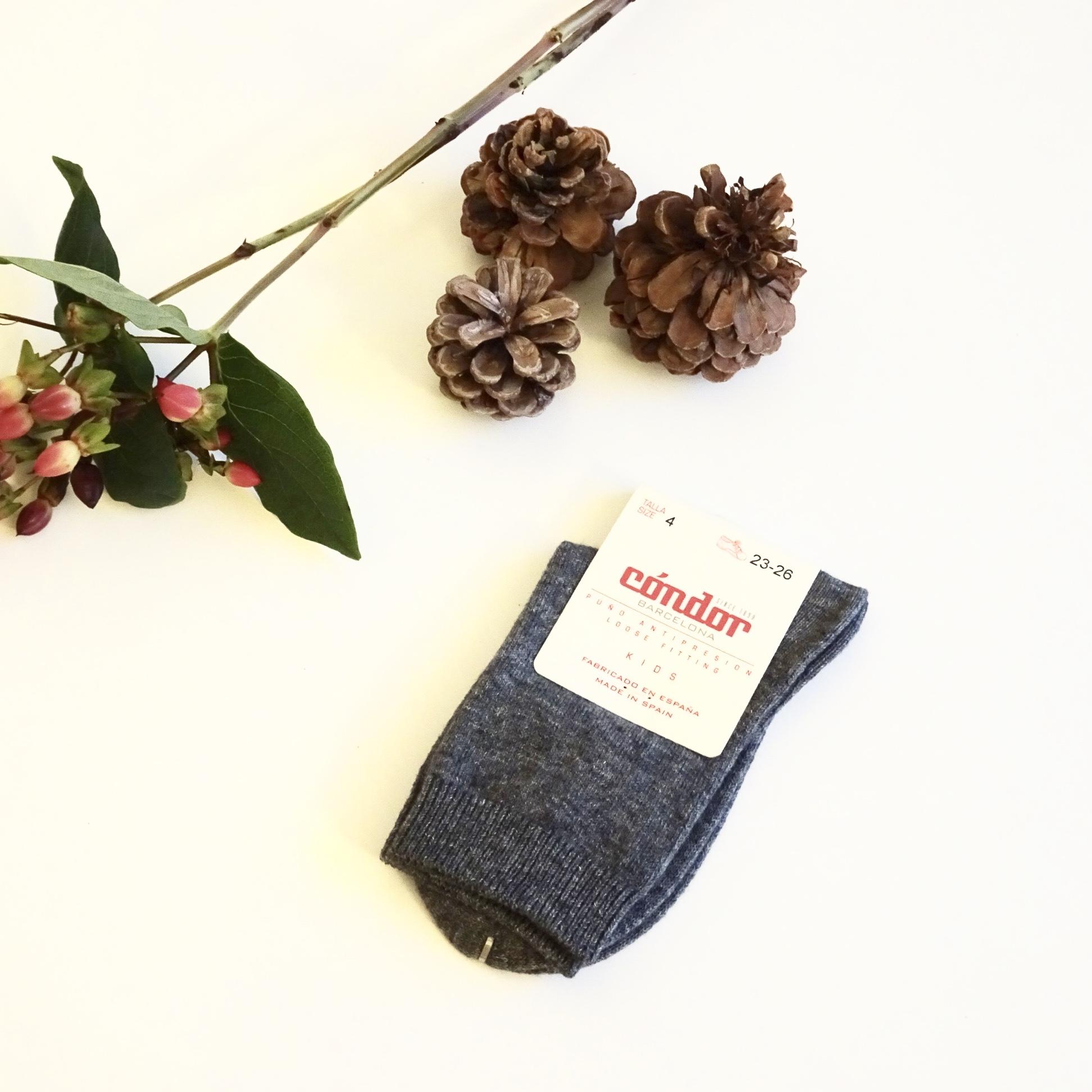 Chaussettes chaudes coton/laine coloris Light Grey