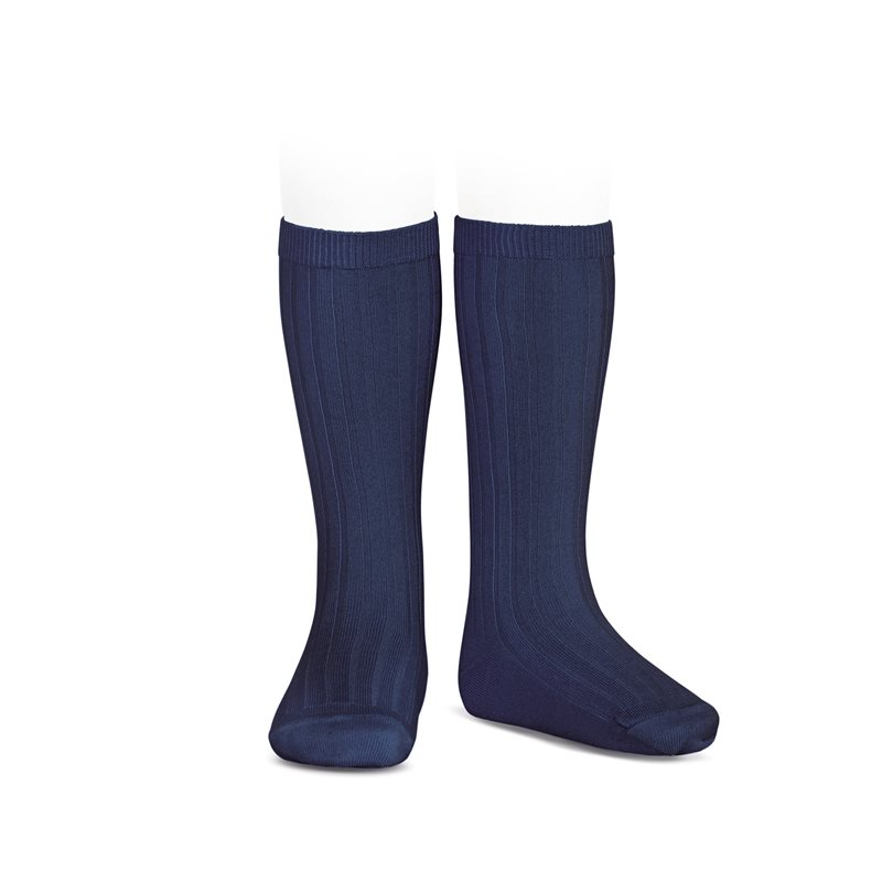 Chaussettes hautes maille côtelée coloris Navy Blue