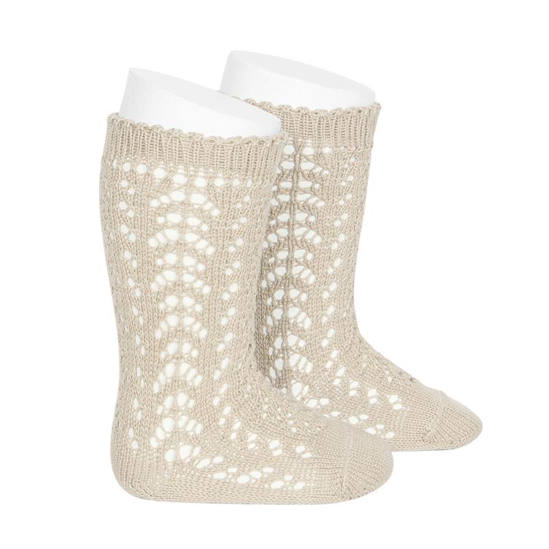 Chaussettes hautes ajourées dentelle en coton perlé coloris Lin