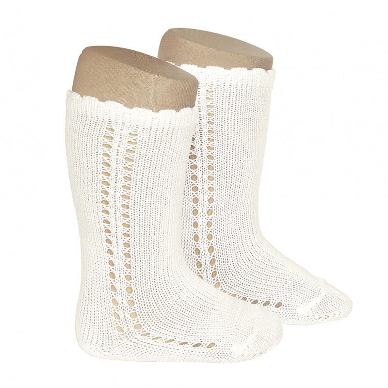 Chaussettes hautes ajourées côté en coton perlé coloris Beige