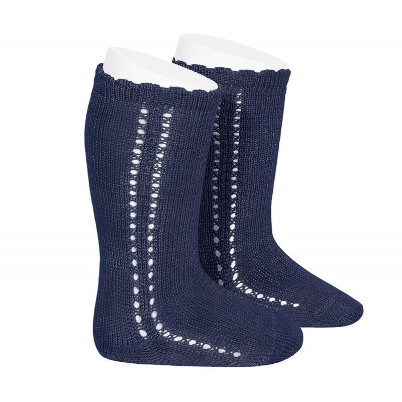 Chaussettes hautes ajourées côté en coton perlé coloris Marine