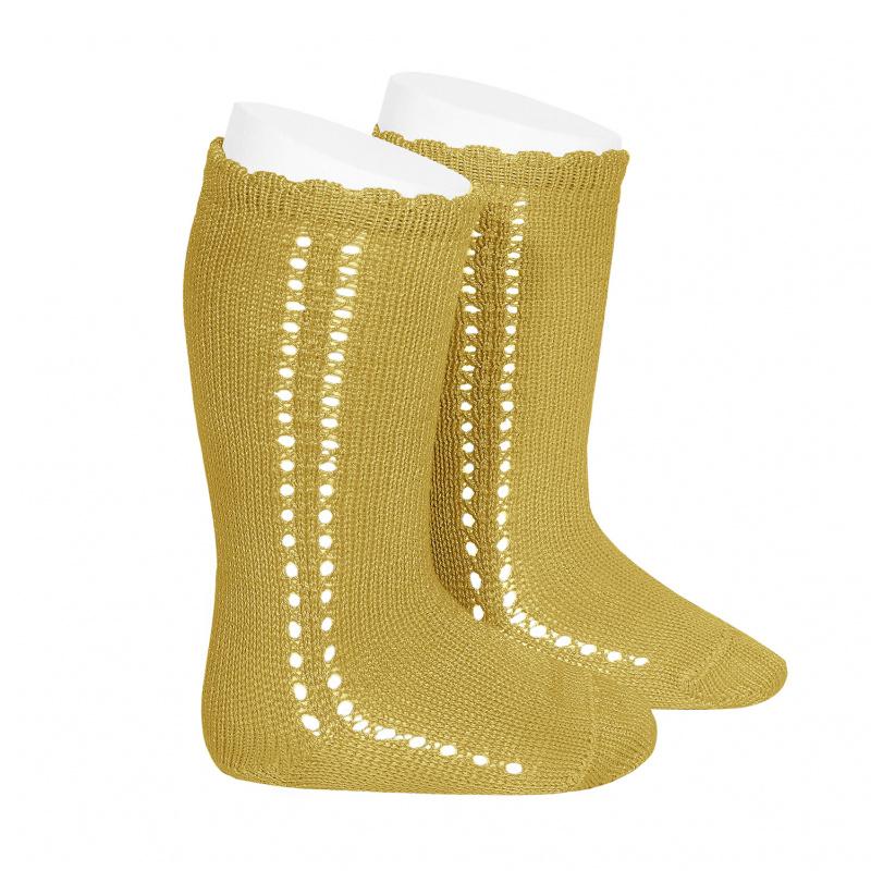 Chaussettes hautes ajourées côté en coton perlé coloris Moutarde