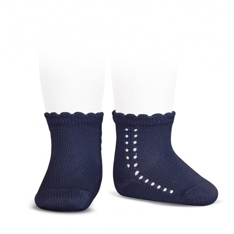 Socquettes ajourées en coton perlé coloris Marine