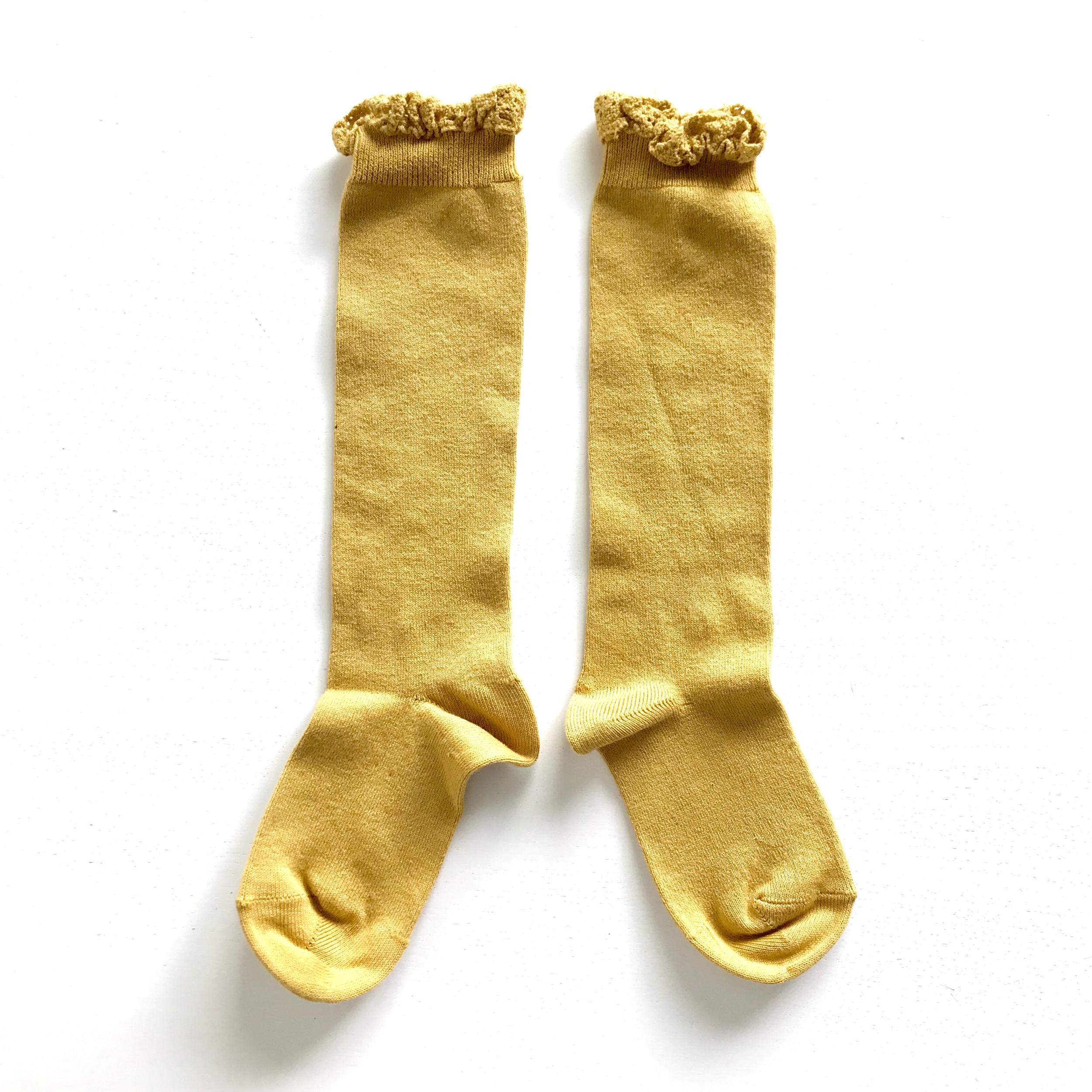 Chaussettes hautes unies bordure dentelle coloris Moutarde