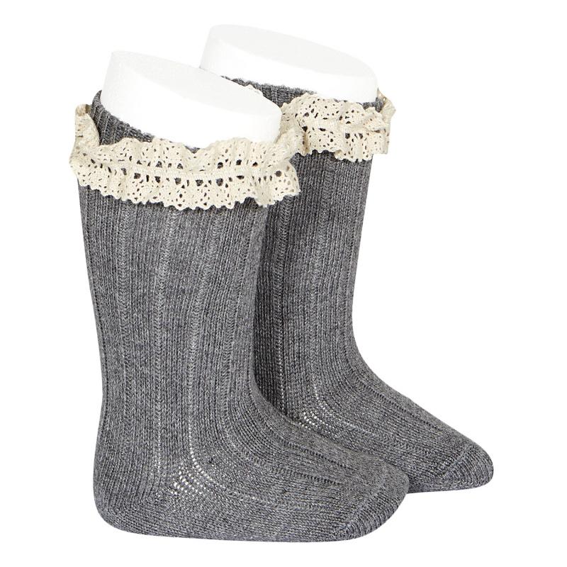 Chaussettes hautes chaudes Vintage dentelle coloris Light Grey