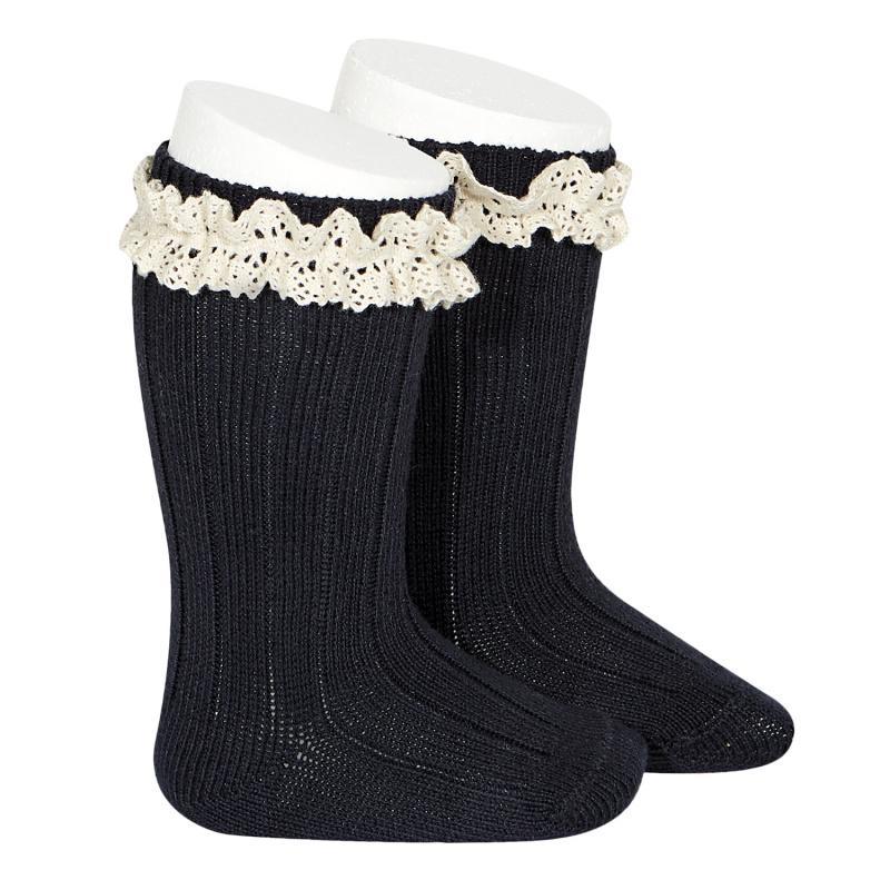 chaussettes-hautes-bordure-en-dentelle-vintage-bleu-marine