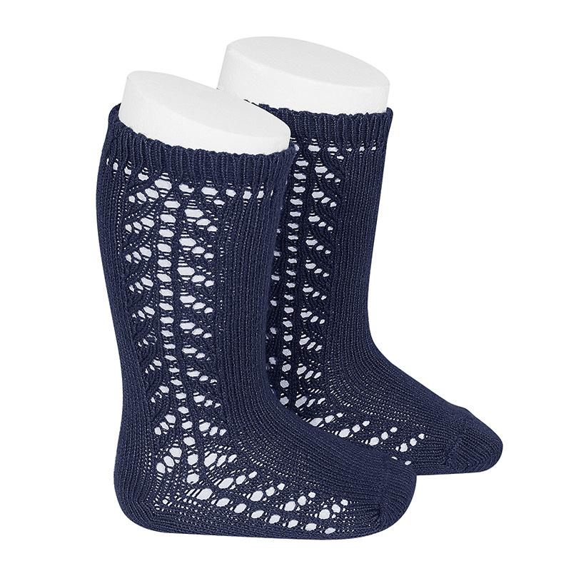 Chaussettes hautes chaudes ajourées côté coloris Marine