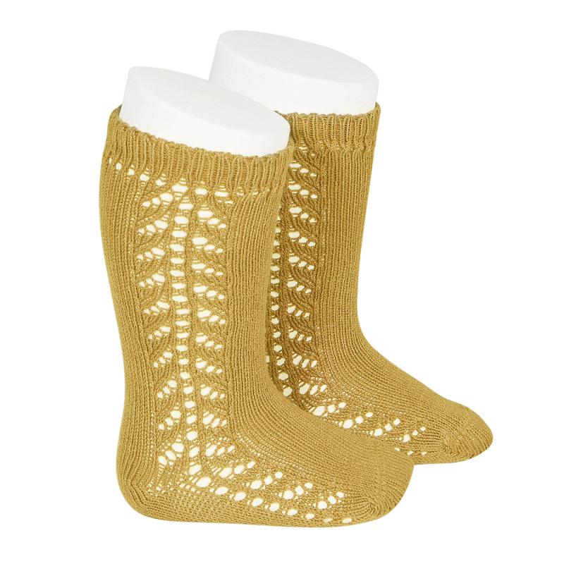 Chaussettes hautes chaudes ajourées côté coloris Moutarde