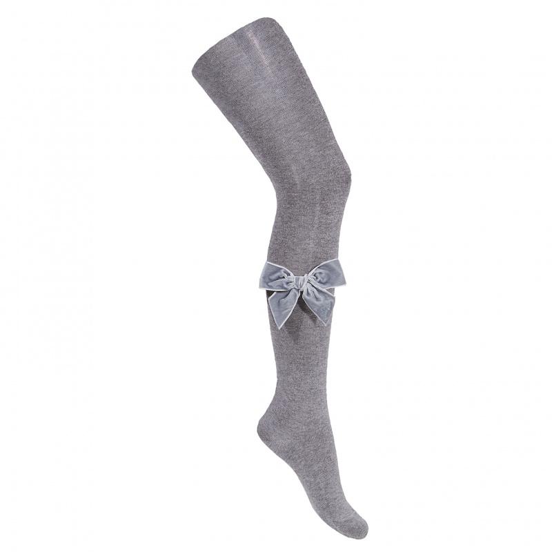 Collants lisses avec noeud velours coloris Aluminium