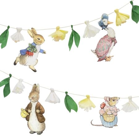 Guirlande de 3m Peter Rabbit et ses amis (5 personnages et 6 fleurs)