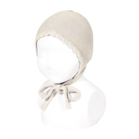 Bonnet/béguin point mousse en coton coloris lin