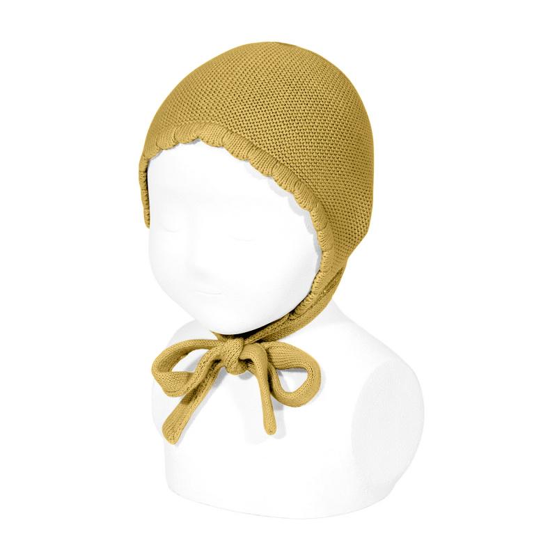 Bonnet/béguin point mousse en coton coloris Moutarde