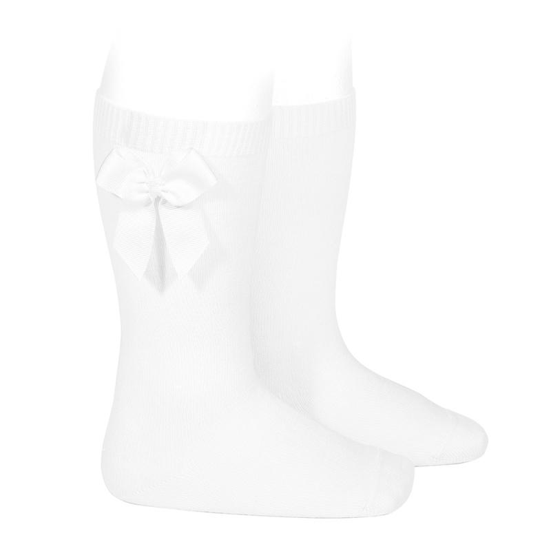 chaussettes-hautes-coton-avec-noeud-lateral-blanc