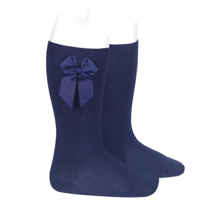chaussettes-hautes-coton-avec-noeud-lateral-bleu-marine
