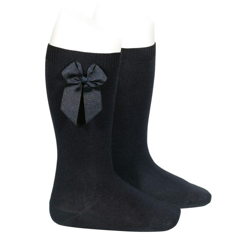 chaussettes-hautes-coton-avec-noeud-lateral-noir