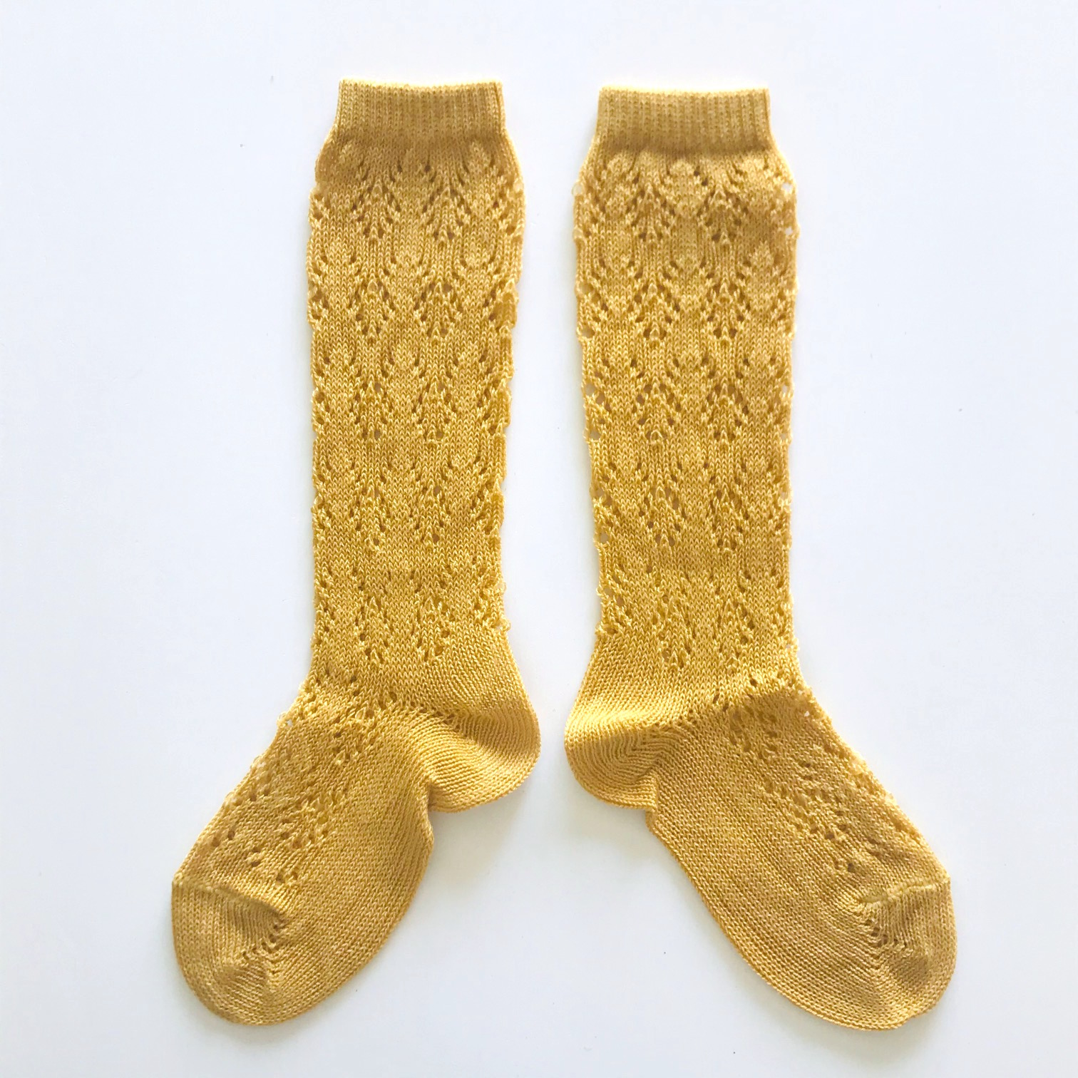 Chaussettes hautes ajourées géométrique en coton perlé coloris Moutarde