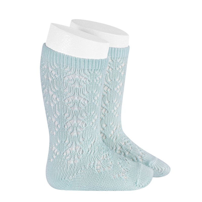 chaussettes-hautes-coton-ajouree-geometrique-aigue-marine
