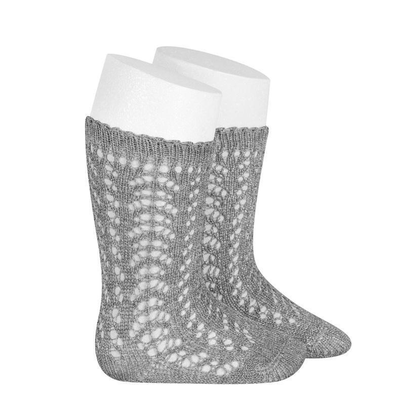 Chaussettes hautes ajourées dentelle lurex coloris Aluminium