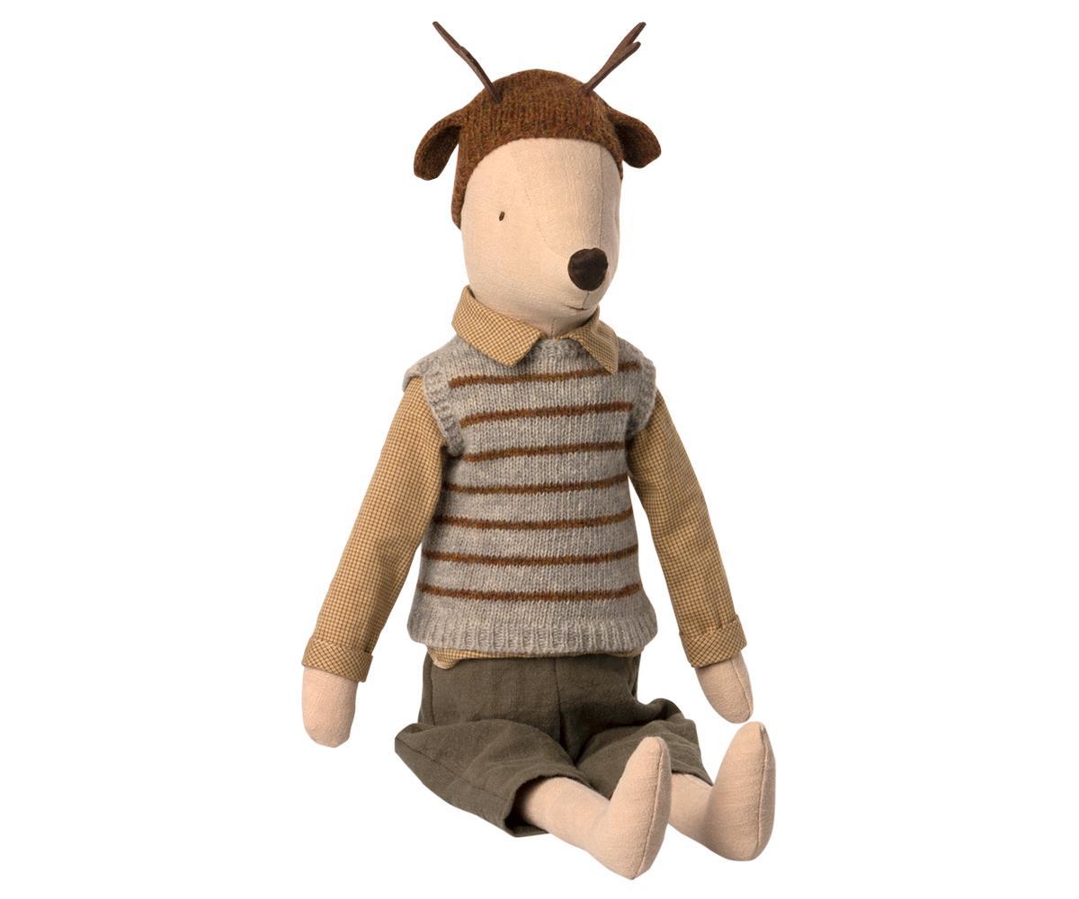 Souris Maileg : garçon au bonnet de rêne format Maxi 50 cm