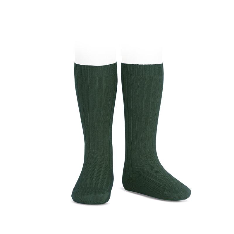 wide-ribbed-cotton-knee-high-socks-bottle-green