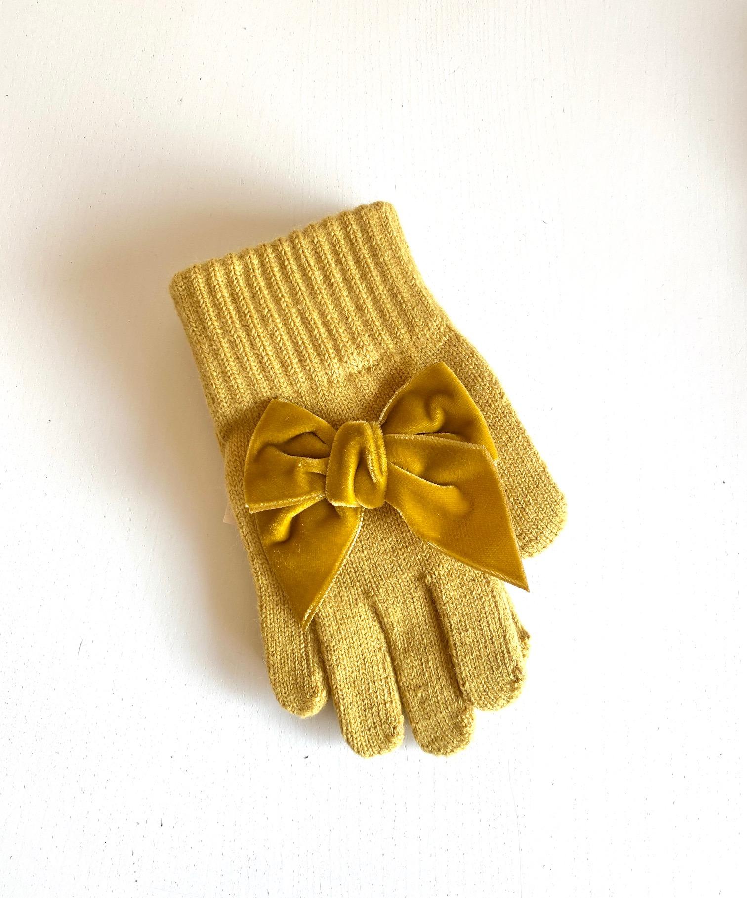 Gants avec noeud velours coloris Moutarde
