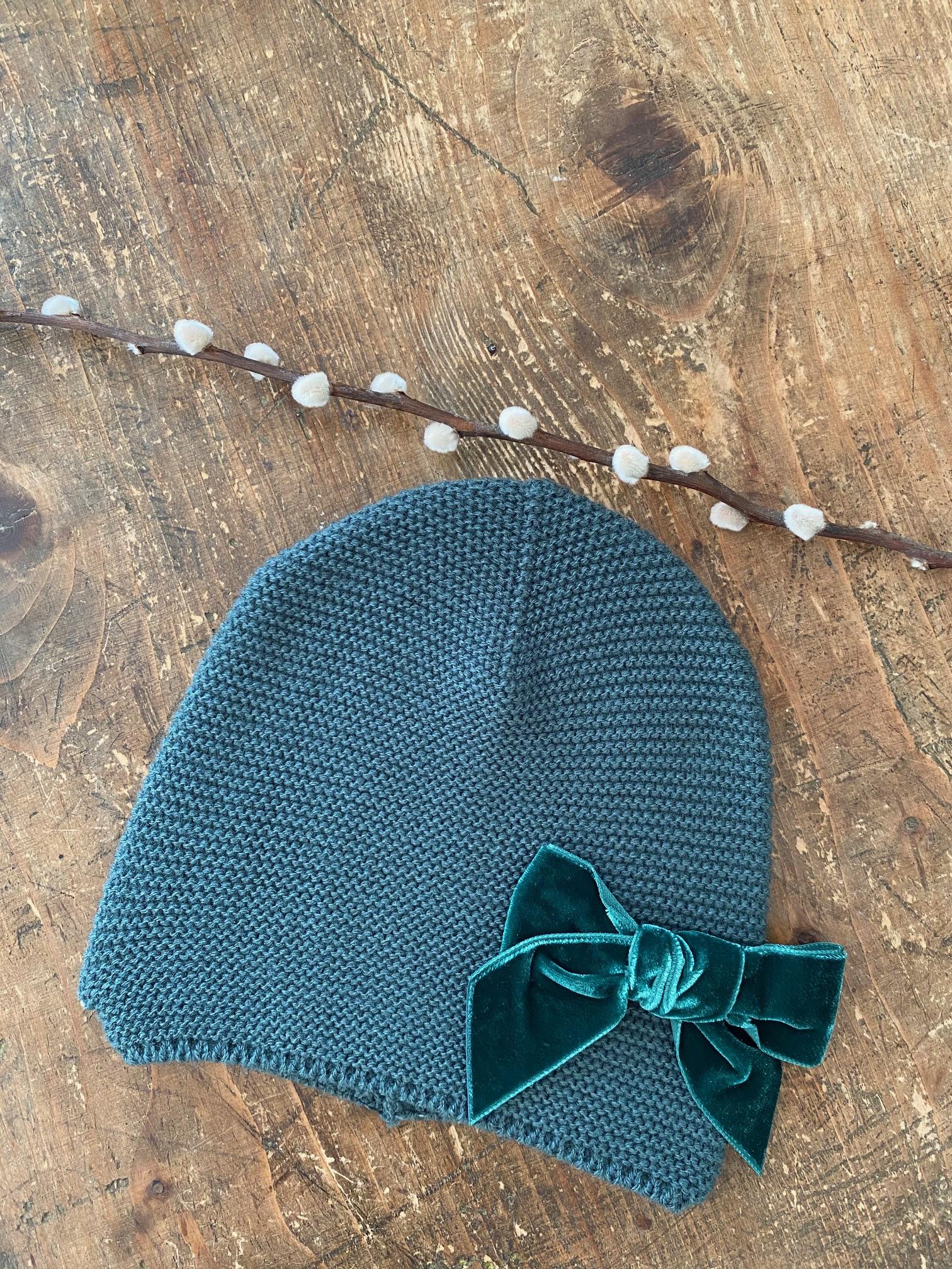 Bonnet enfant point mousse avec noeud velours coloris Pin