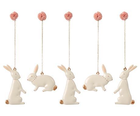 Boîte de 5 décorations de Pâques en métal