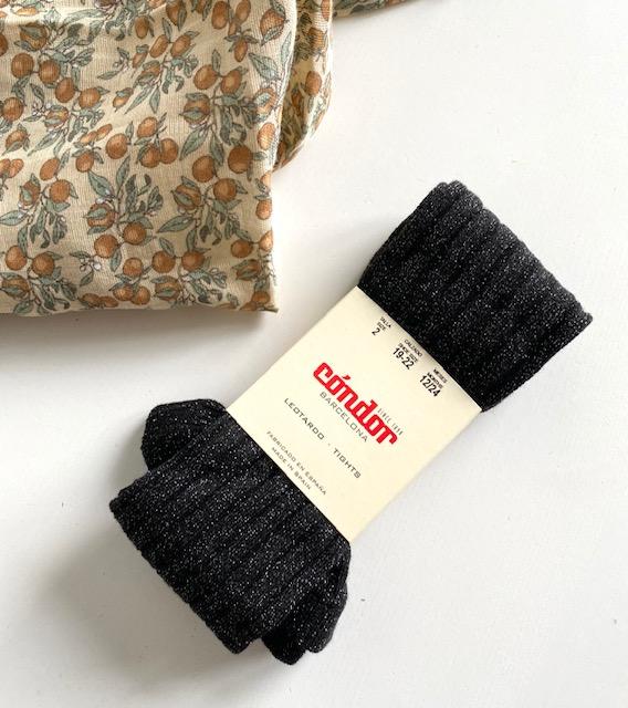 Collants LUREX maille côtelée coloris Noir
