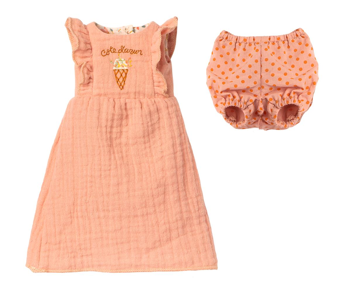 Robe rose et culotte pour lapin Maileg taille 3