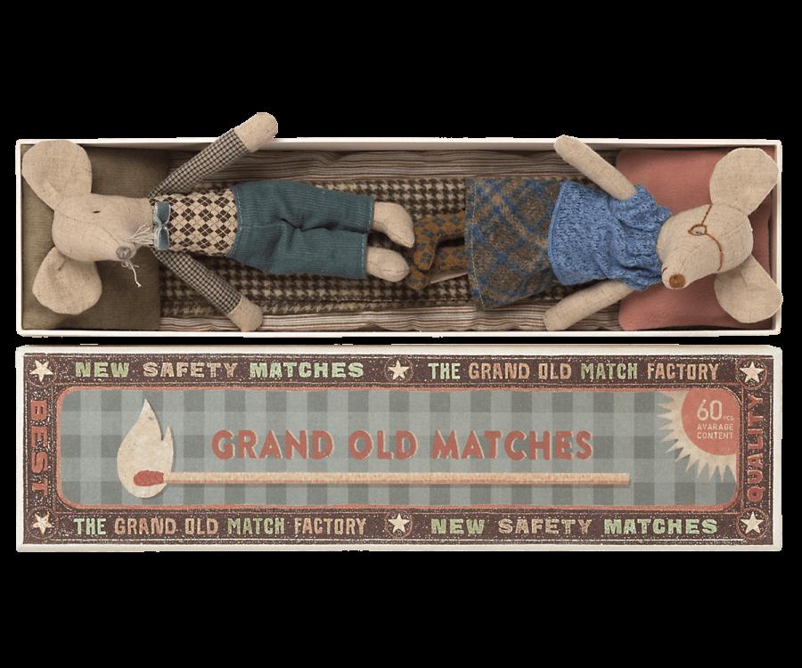 Grand-père et grand-mère souris dans leur boîte d\'allumettes