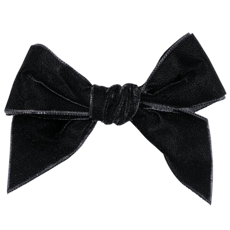 Barrette noeud en velours coloris Noir