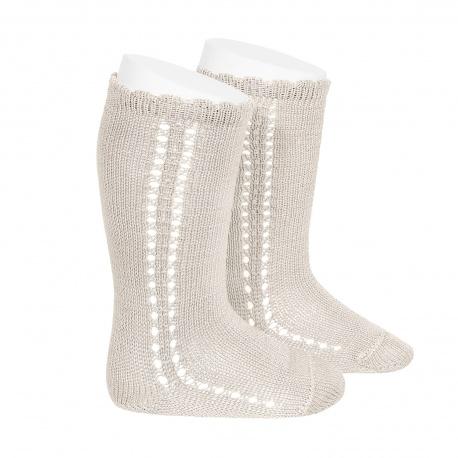Chaussettes hautes ajourées côté en coton perlé coloris Lin