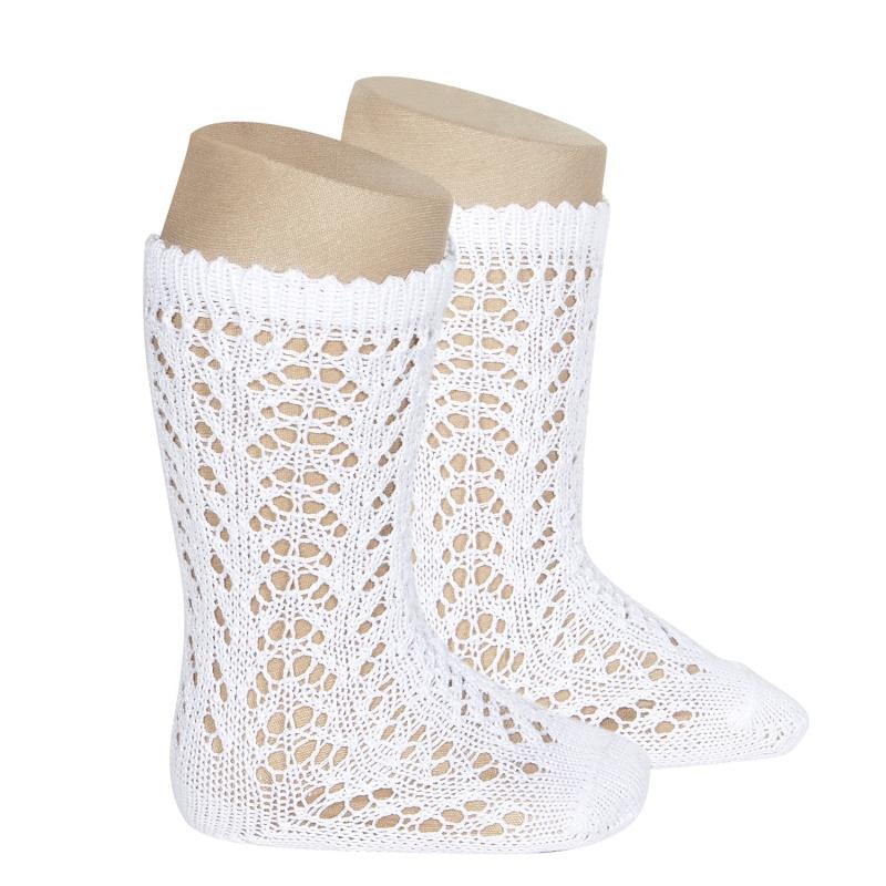 Chaussettes hautes ajourées dentelle en coton perlé coloris Blanc