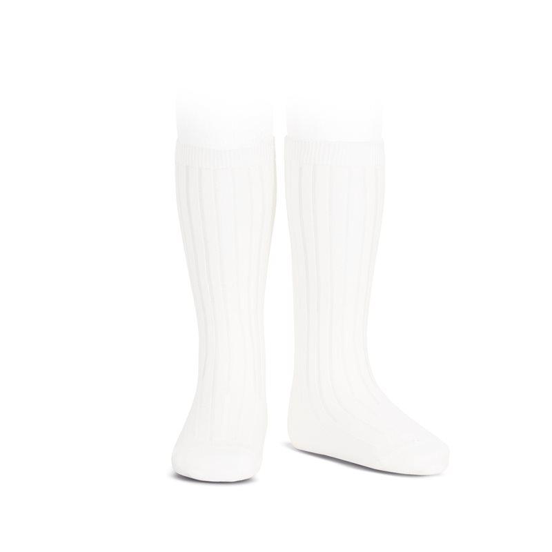 Chaussettes hautes maille côtelée coloris Blanc