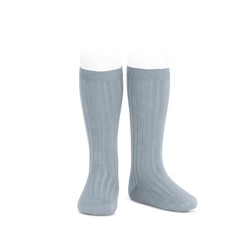 Chaussettes hautes maille côtelée coloris Vert sec