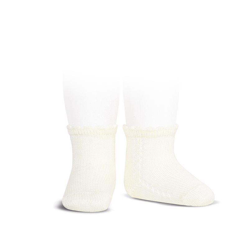 Socquettes ajourées en coton perlé coloris Beige