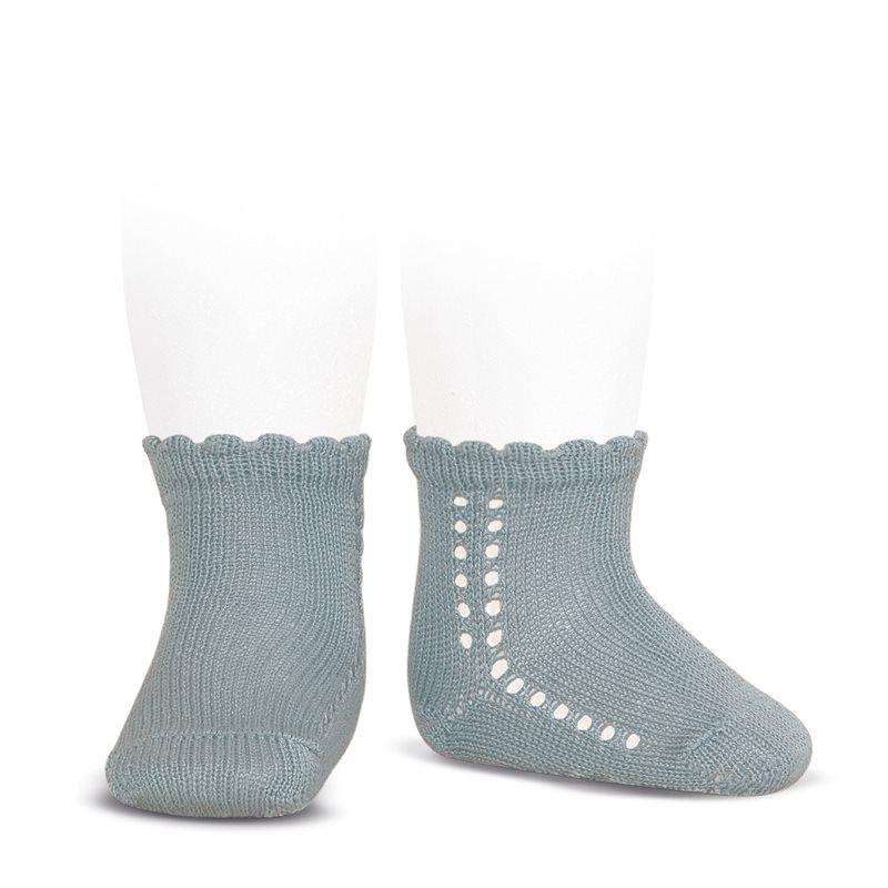 Socquettes ajourées en coton perlé coloris Vert sec