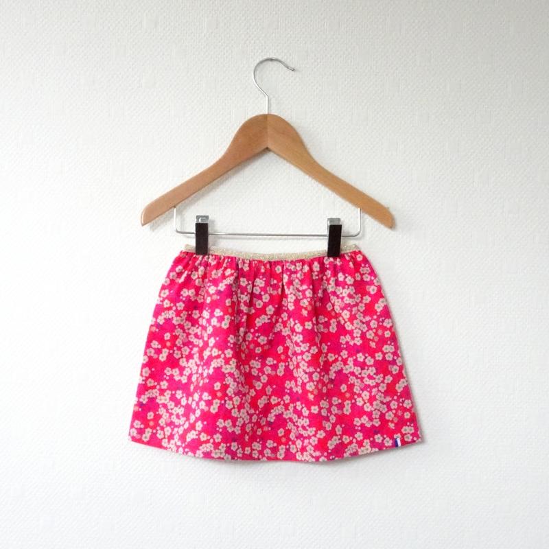 Jupe en Liberty Mitsi framboise modèle Petite Fille - 12 mois (prix Outlet)