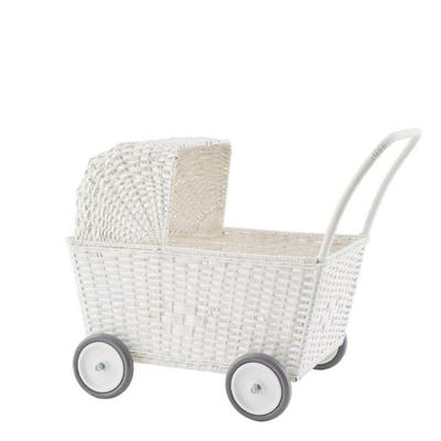 Landau pour poupées en rotin Strolley coloris blanc