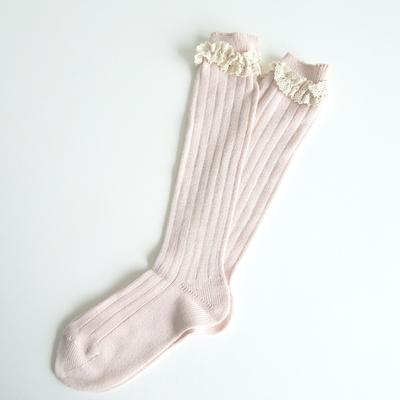 Chaussettes hautes chaudes Vintage dentelle coloris nude (6 ans uniquement)