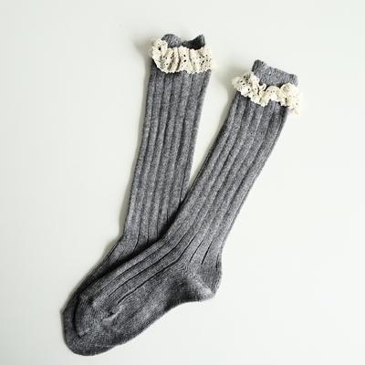 Chaussettes hautes chaudes dentelle coloris Light Grey