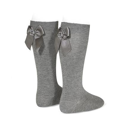 Chaussettes hautes à noeuds coloris Light Grey