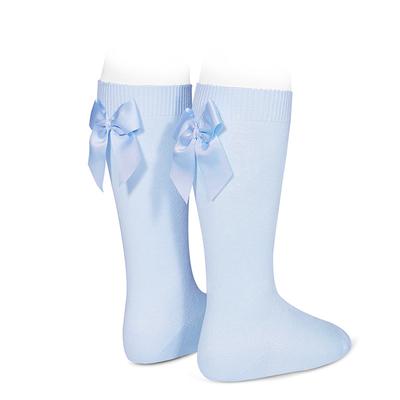 Chaussettes hautes à noeuds coloris Bleu clair