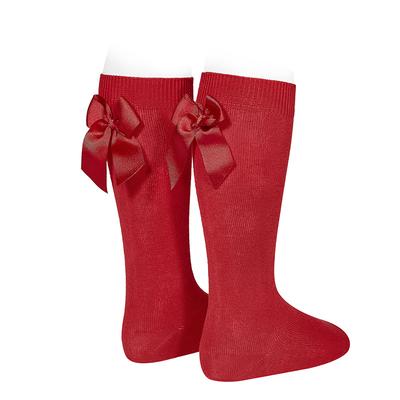 Chaussettes hautes à noeuds coloris Rouge