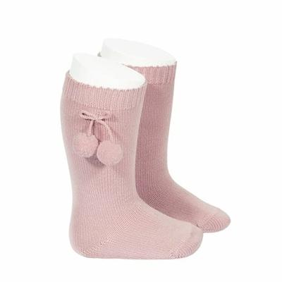 Chaussettes hautes maille côtelée à pompons coloris Rose Pâle