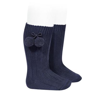 Chaussettes hautes maille côtelée à pompons coloris marine