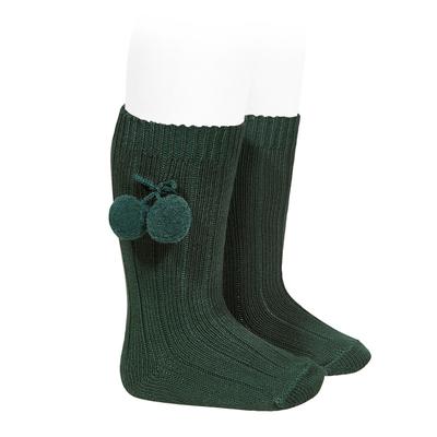 Chaussettes hautes maille côtelée à pompons coloris Vert Bouteille